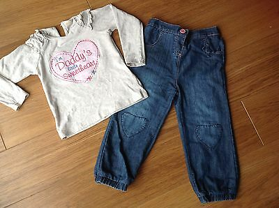 Worn once BHS girls 2-3y Daddys little sweetheart top & soft lined jeans Next dp