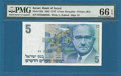 Israel 5 New Sheqalim P 52b 1987 PMG 66 EPQ Gem Uncirculated