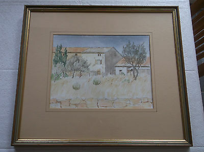 Framed Watercolour Painting A Beautiful Study Of French Farmhouses