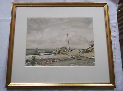 FRAMED WATERCOLOUR PAINTING by A.E.WAITE A BOAT MOORED IN A RIVER ESTUARY