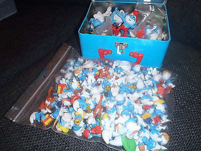 Big Lot of Smurfs Figurines from the Eighties or Early Nineties in Smurfs Box