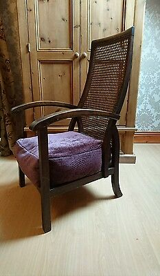 stunning antique chair arts crafts with wicker backed seat cushion solid oak