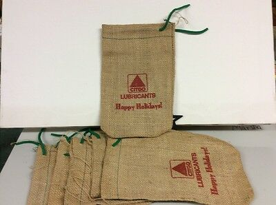 6 Advertising Citgo Lubricants Happy Holidays! Burlap Drawstring Bags Christmas