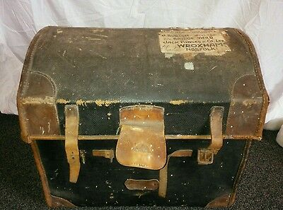 Steamer Chest Blanket Box Dome Top Trunk Antique Victorian Railway Old Travel