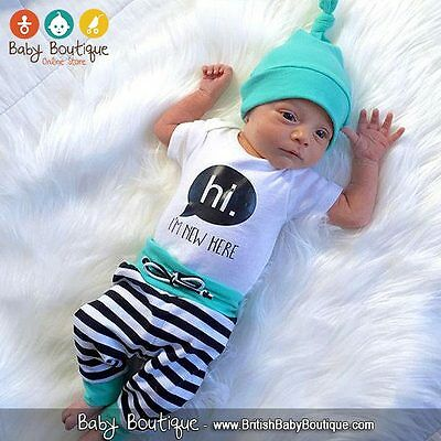 HI, I'M NEW HERE Bodysuit Striped Long Pants and Hat Outfit