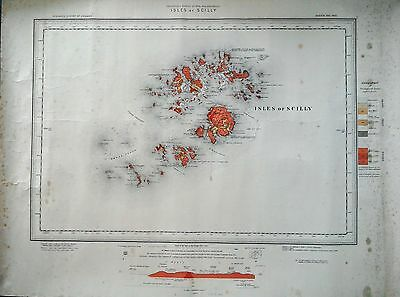 Antique Colour Ordnance Survey Map Of The Isles Of Scilly 1906