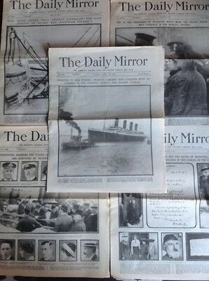 Titanic The Daily Mirror 16 - 20 April 1912 Newspapers BARGAIN !!!