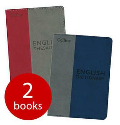 Dictionary & Thesaurus Set By Collins - Faux Leather Soft Cover Compact Pocket