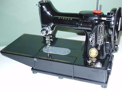 Singer 222K Featherweight Free Arm Sewing Machine Serviced, Attachments 55