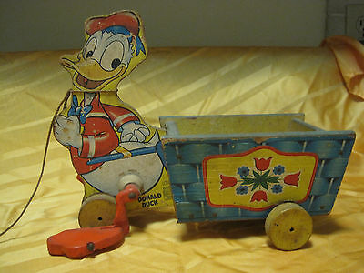 """Disney 1954 """"donald Duck With Cart"""" Fisher Price Wood Pull Toy #605"""