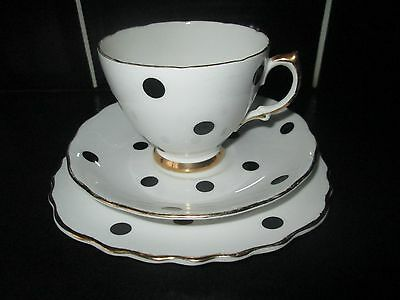 ROYAL VALE 1950's BONE CHINA BLACK POLKA DOT SPOTTY CUP SAUCER SIDE PLATE TRIO