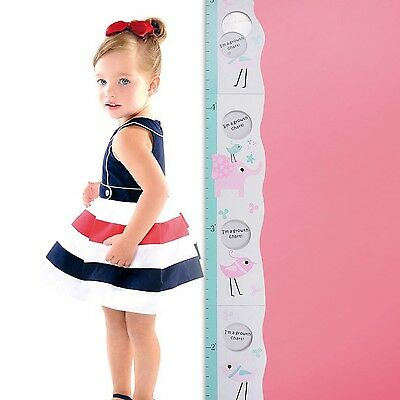 Kids Growth Chart Wood Folding Height Measurement Ruler w/ Children Pic HER01