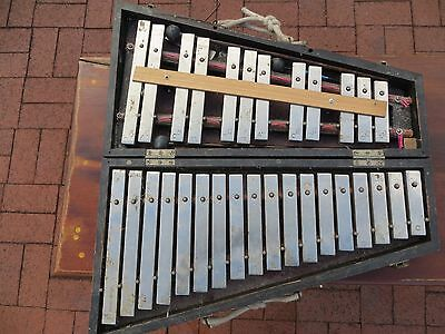 """Antique J.C. """"Deagan Special""""  Orchestra Bells Xylophone Complete in Wood Case"""