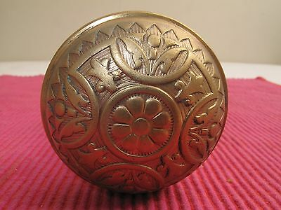 Pair Celtic Cross Ornate Antique Eastlake Victorian Brass Door Knobs W/ Rosettes