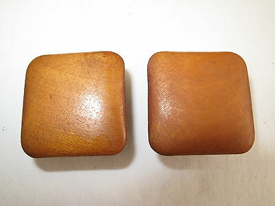 "Pair Of Square Maple Cherry Vtg Antique Drawer Pulls Knobs  1 1/2"" Wide"
