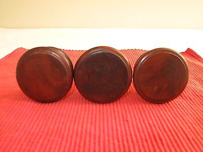 "Set Of 3 Antique Wood 21/4"" D Recessed Edge  Empire Drawer Pulls Knobs Z4 1800's"