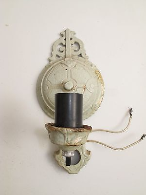 Antique Cast Iron Victorian 1900's Metal Wall Sconce Lamp Light Ornate Greenish