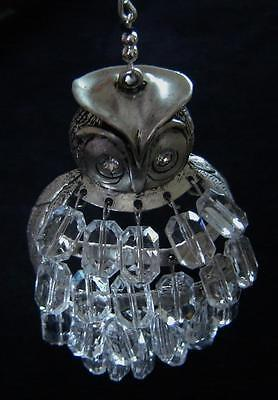 Pewter? Christmas Tree Ornament Chico's Owl Rhinestone Eyes Bead Feathers