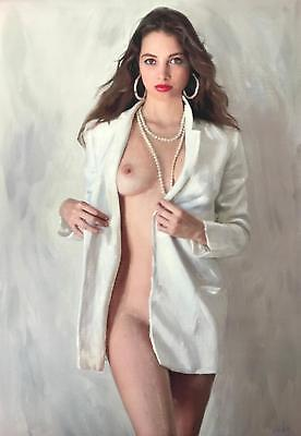 """ORIGINAL WILLIAM OXER  """"A Fine Woman"""" naked female girl woman lady OIL PAINTING"""