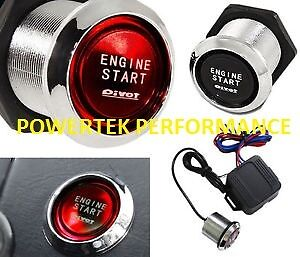 UNIVERSAL PIVOT ILLUMINATED RED PUSH BUTTON ENGINE START KIT ANY 12 v VEHICLE