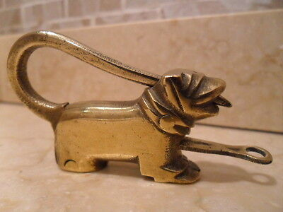 Antique Bronze Pug Dog Push Lock Padlock. Oriental. Complete And Working