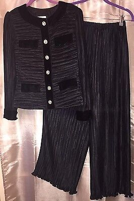HTF George F Couture NY KNife Pleat Palazzo Pant Set Black 6 LN Outfit Vintage