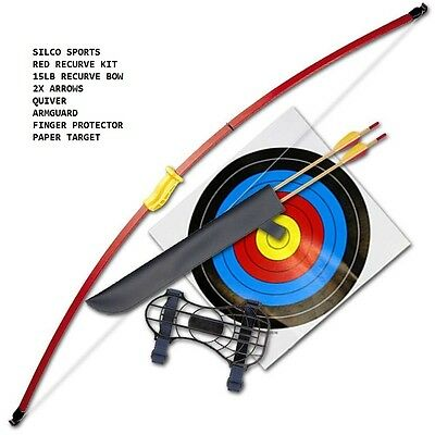 "Family Recurve Junior Red Youth Longbow Set  - 44"" -  2 Arrows & 5 40Cm Targets"