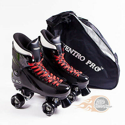 Ventro Pro Turbo Quad Skates, Bauer Style - Black Red - With Skate Bag