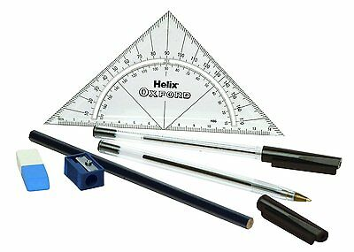 Helix Oxford Exam Kit Q92010 - CONTAINS RULER MATHS SET SQUARE PROTRACTOR PEN