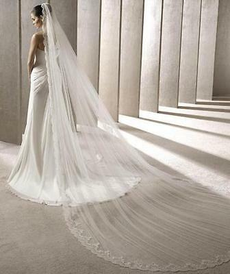 New White/Ivory Cathedral Length Luxury Lace Edge Wedding Veil bridal Veils+comb