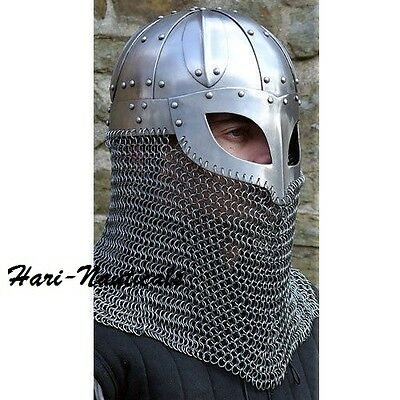 HISTORICAL MEDIEVAL HELMET UNIQUE ARMOUR UNIQUE GIFT Steel and Chainmail