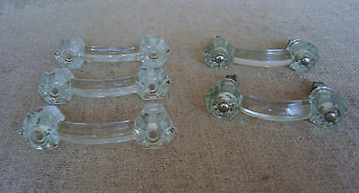 Antique Vintage Crystal Glass Drawer Pulls Lot of 5 Free Shipping