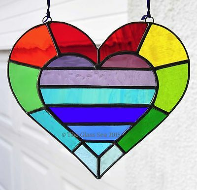 Stained Glass Art Rainbow Heart Within A Heart Large Suncatcher by The Glass Sea