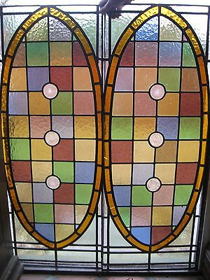 2 Antique, Vintage Stained Coloured Glass Window Door Side Panels