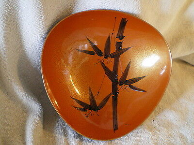 Lacquered Footed Bowl w/Bamboo, Vintage Japan