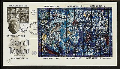 United Nation FDC Chagall Window Mini Sheet 1967 First Day Cover, Lot 1