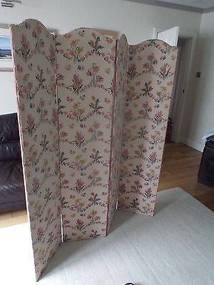 Beautiful Hand Painted Vintage Dressing Screen Room Divider 4 Arched Panels