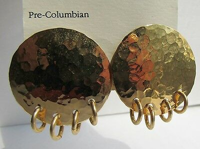 Disc & Ring Pre Columbian 1988 Alva Museum Reproduction Earrings