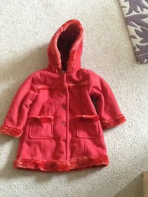 Girls Cosy Red Fur Lined Red Coat Baby Gap  Age 3