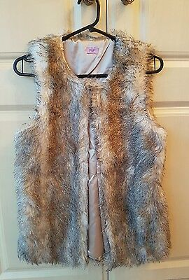 Ladies Florence & Fred Beige Faux Fur Gilet Size 13-14 years