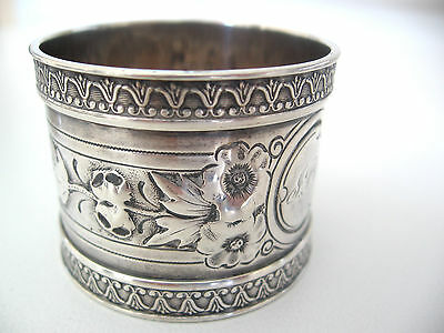 Wonderful very ornate Wood & Hughes antique sterling silver napkin ring