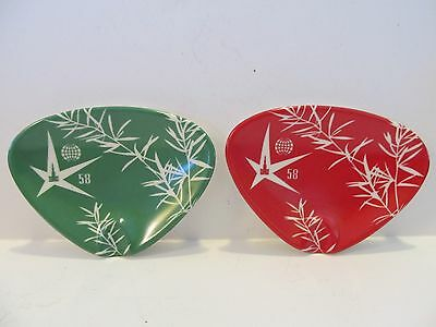 2 Vintage 1958 Brussels Belgium World's Fair Expo Souvenir Cogebi Ashtray