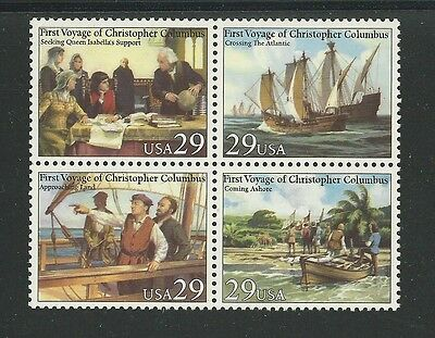 US Stamps Scott # 2620 -2623a - 29c VOYAGES OF COLUMBUS 1992 Mint, Never Hinged
