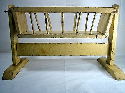 antique Doll Cradle craftsman made Old Paint mortise & tenon Peg construction