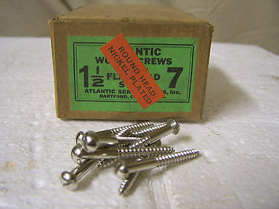 "#7 x 1 1/2"" Round Head Nickel Plated Steel Screws Slotted Made in USA Qty. 144"