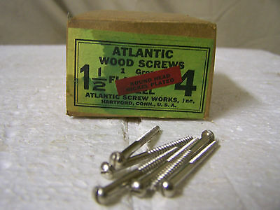 """#4 x 1 1/2"""" Round Head Nickel Plated Wood Screws Slotted Made in USA Qty. 144"""