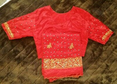 Indian sahri with top red gold cost approx £80