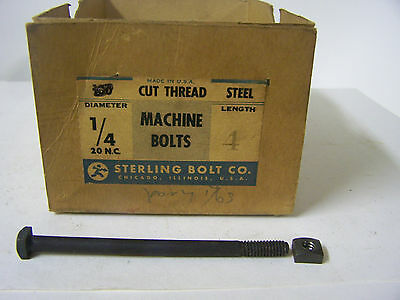Vtg. 1/4-20 x 4 Square Head Machine Bolts w/Square Nuts  Made in USA Qty. 25