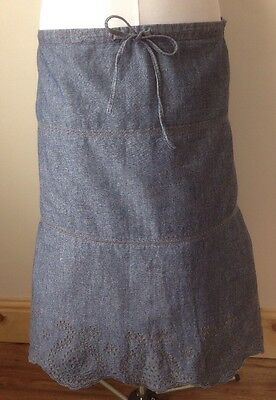 Ladies Next Medium Blue Denim Skirt Embroided Broidery Anglaise Sz 16 A-line