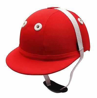 Polo Helmet Traditional Cotton Twill Fibreglass Red S To L
